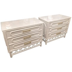 White Lacquered Pair Faux Bamboo Chests Nightstands Chinese Chippendale Brass