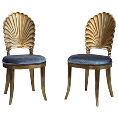 Italian Shell Back Gold Leaf Side Chairs