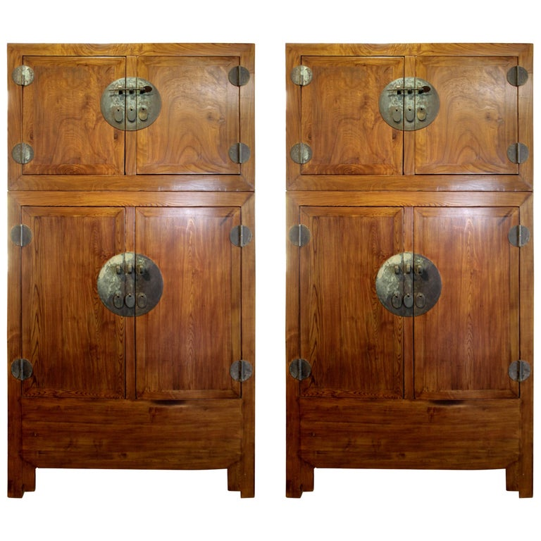 Pair of Cabinets Elmwood China Qing Dynasty