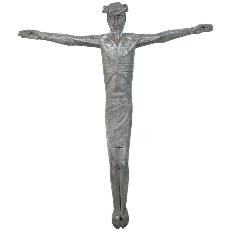 Abstract Cubist Iron American Church Crucifix For Sale