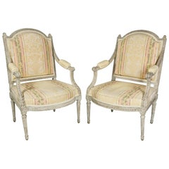 Pair of Louis XVI Painted Fauteuil by Claude Sene