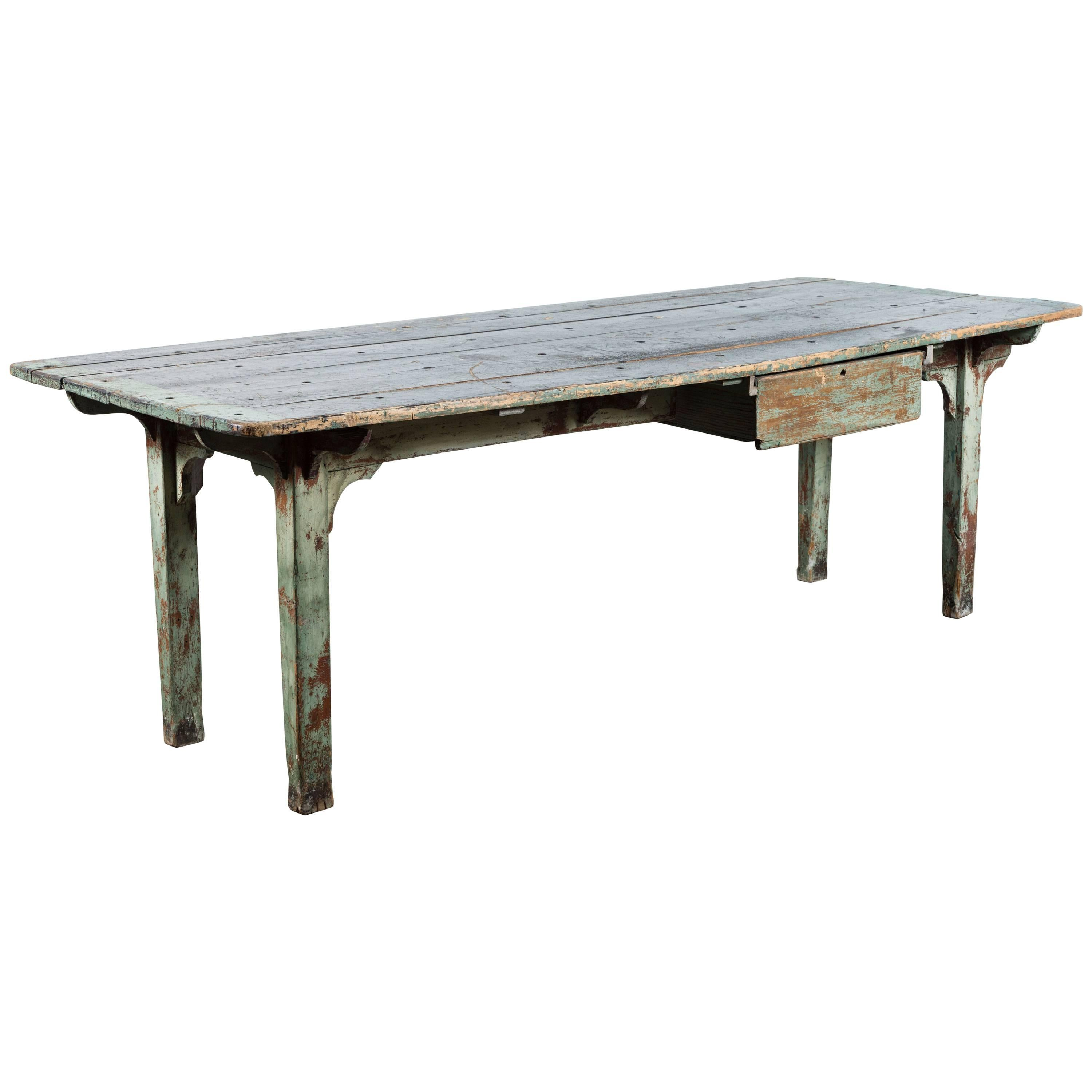 Vintage American General Store Counter Table with Drawer Original Paint Surface