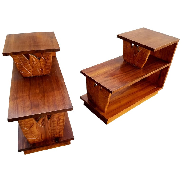 Pair of Hawaiian Koa Step End Tables