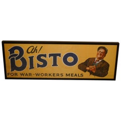 Framed Bisto Advertising Sign, Ah Bisto for War-Workers Meals Advertising Sign