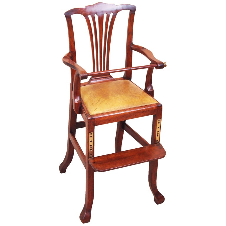 Antique Georgian Mahogany Childs High Chair For Sale - Antique Georgian Mahogany Childs High Chair For Sale At 1stdibs