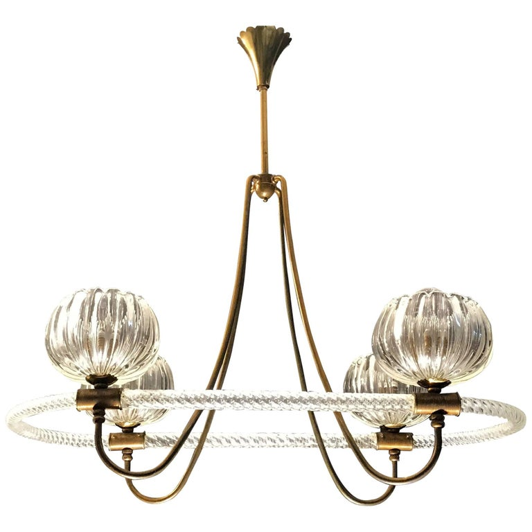 Elegant Italian Art Deco Murano Glass Chandelier by Barovier, 1940s