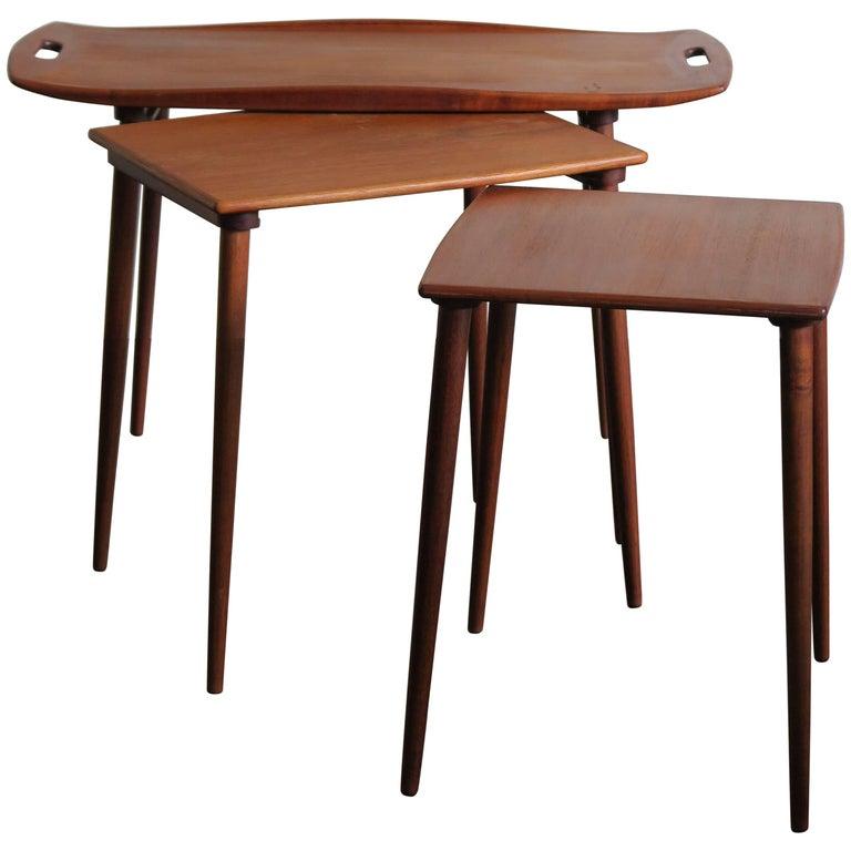 1960s Jens Harald Quistgaard Scandinavian Teak Nesting Tables for Nissen