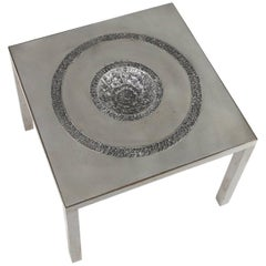 Brutalist Ashtray Table by Marc D'Haenens in Aluminium