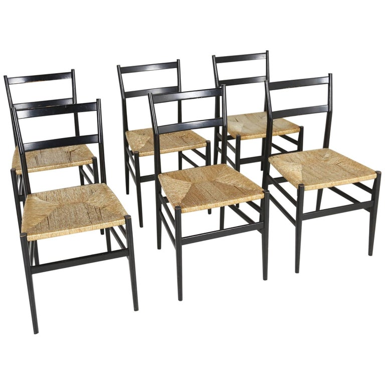 Set of Six Gio Ponti Superleggera Chairs for Cassina, Italy