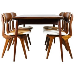 Dining Room Set by Louis Van Teeffelen for Webe 1950 Teak, Cow Leather, Brown