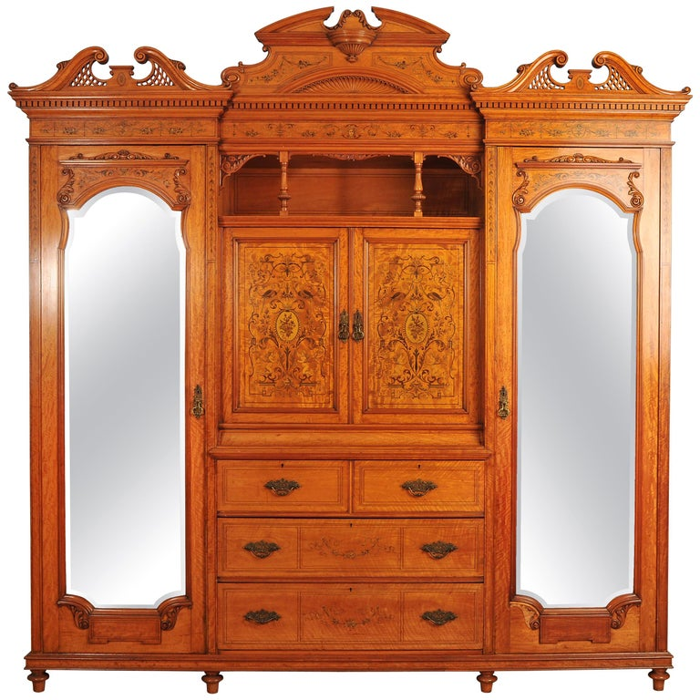 19th Century Large English Satinwood Wardrobe For Sale