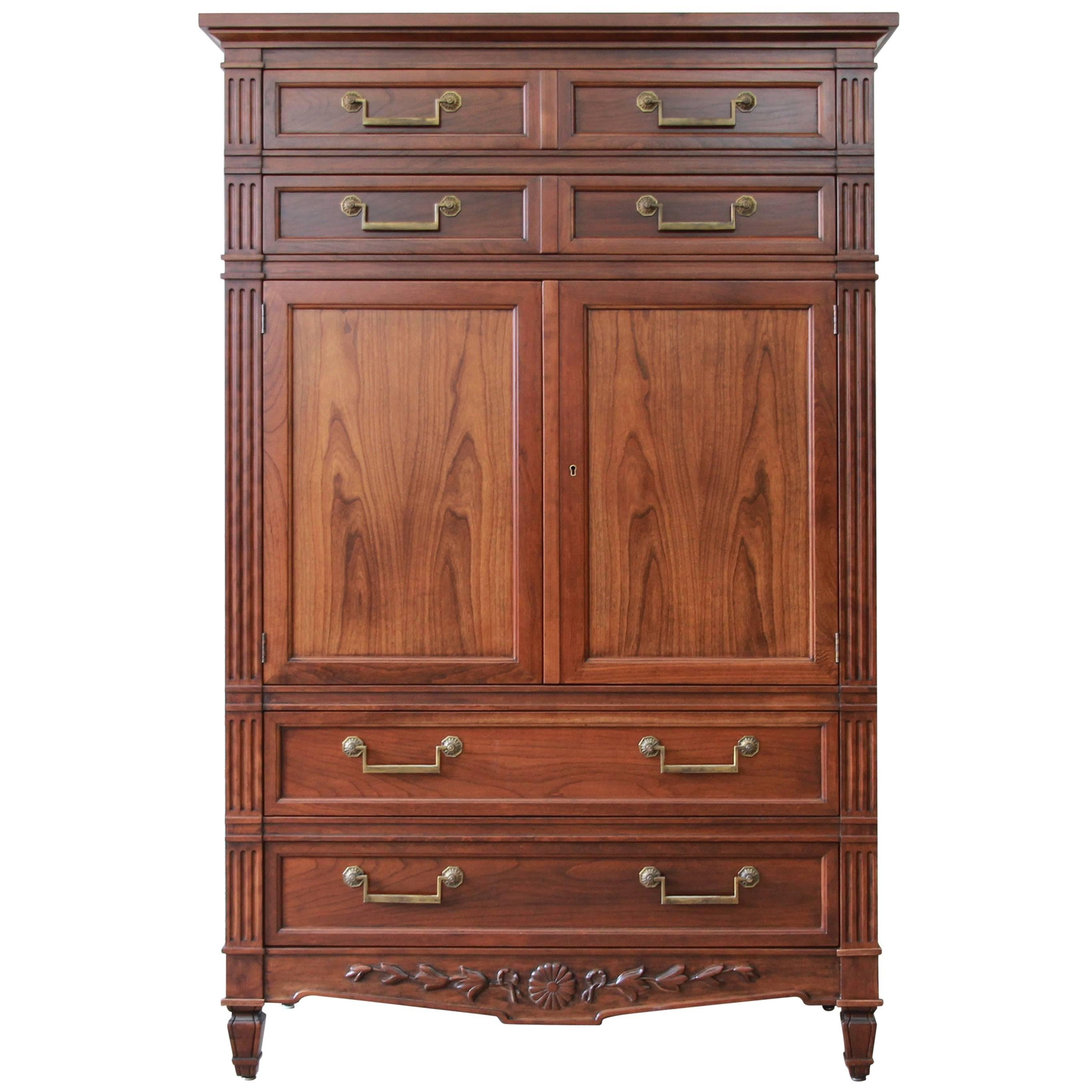 Bon Baker Furniture French Regency Style Cherrywood Armoire Dresser Chest For  Sale