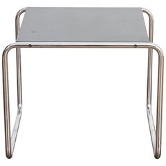 Marcel Breuer Black Laminated Wood and Steel 'Laccio' Side Table for Gavina