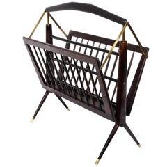Cesare Lacca Magazine Rack in Mahogany and Brass Italy, 1950s Mid-Century Modern