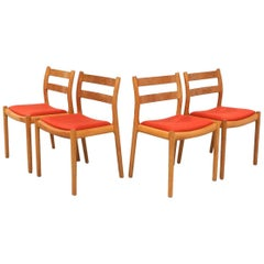 Set of Four Oak Moller Chairs Niels Otto Moller Model No. 84