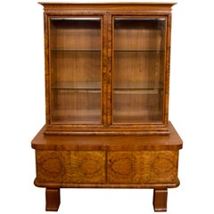 Art Deco Walnut Display Cabinet