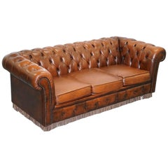 Original Vintage Hand-Dyed Aged Brown Leather Chesterfield Sofabed Rare Find