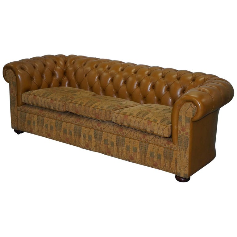 Liberty S London Leather And Fabric Chesterfield Sofa Fleming Howland