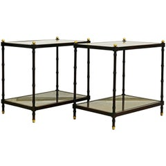 Pair of Regency Style Faux Bamboo Glass and Canetop Tables with Brass Finials