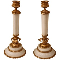 Pair of Early 20th Century Dore Bronze and Marble Candlestick