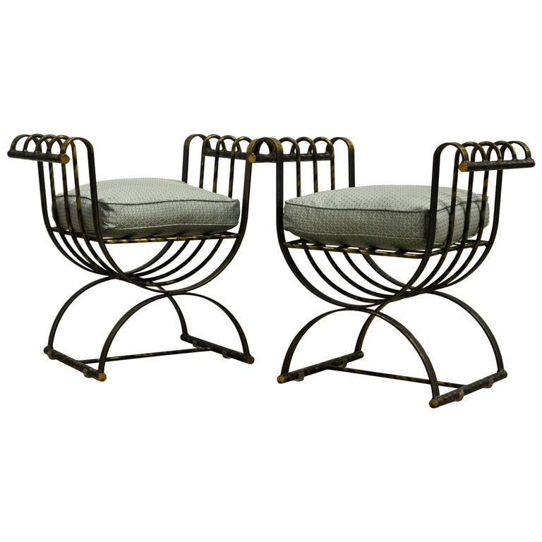 Pair of Classical Style Patinated Steel 'Curule' Chairs with a Modern Twist 1