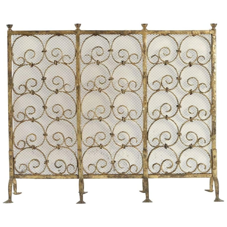 Fireplace Screen in Gold Gilded Wrought Iron