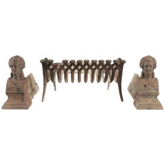 Pair of Fireplace Dogs and Fire Log Holder