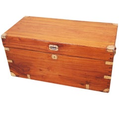 Antique 19th Century Camphor Wood Military Campaign Trunk
