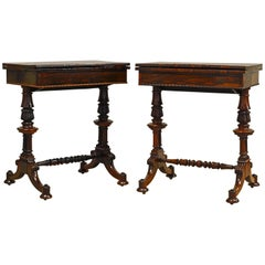 Rare Pair of Superior William IV Rosewood Twin Pedestal One Drawer Game Tables