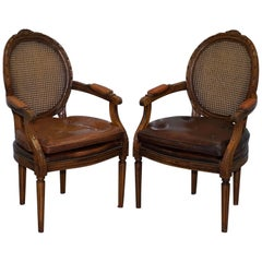 Pair of Vintage Dutch Handmade Brown Leather and Rattan Occasional Armchairs