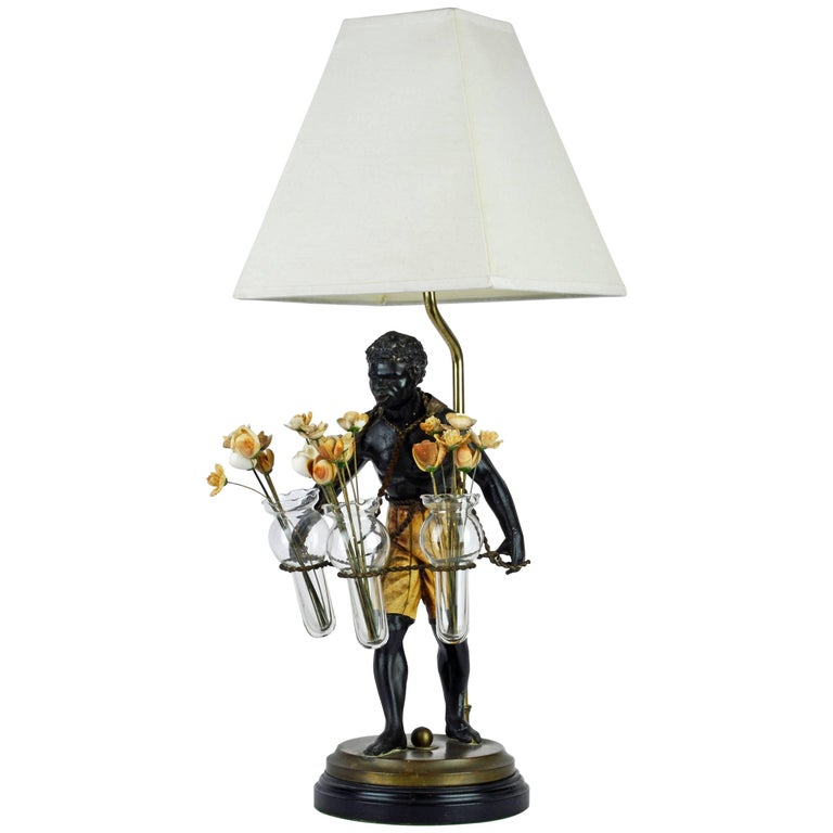 Exotic Midcentury Style Painted Bronze Blackamoor Themed Table Lamp For Sale