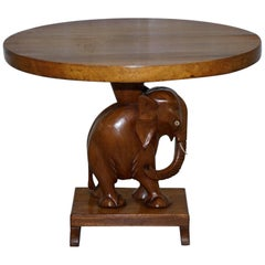 Nice Solid Teak Hand-Carved Chinese Elephant Side End Lamp Wine Table Nice Find