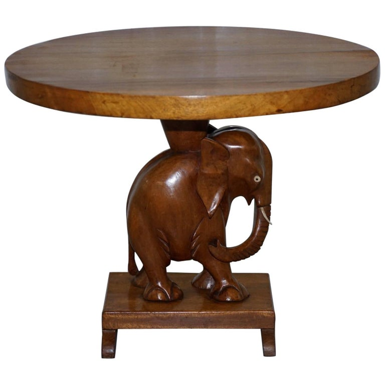 Nice Solid Teak Hand Carved Chinese Elephant Side End Lamp