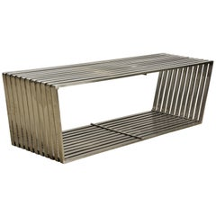 Mid-Century Modern Style Brushed Steel trapezoid Shape Slat Bench/Coffee Table