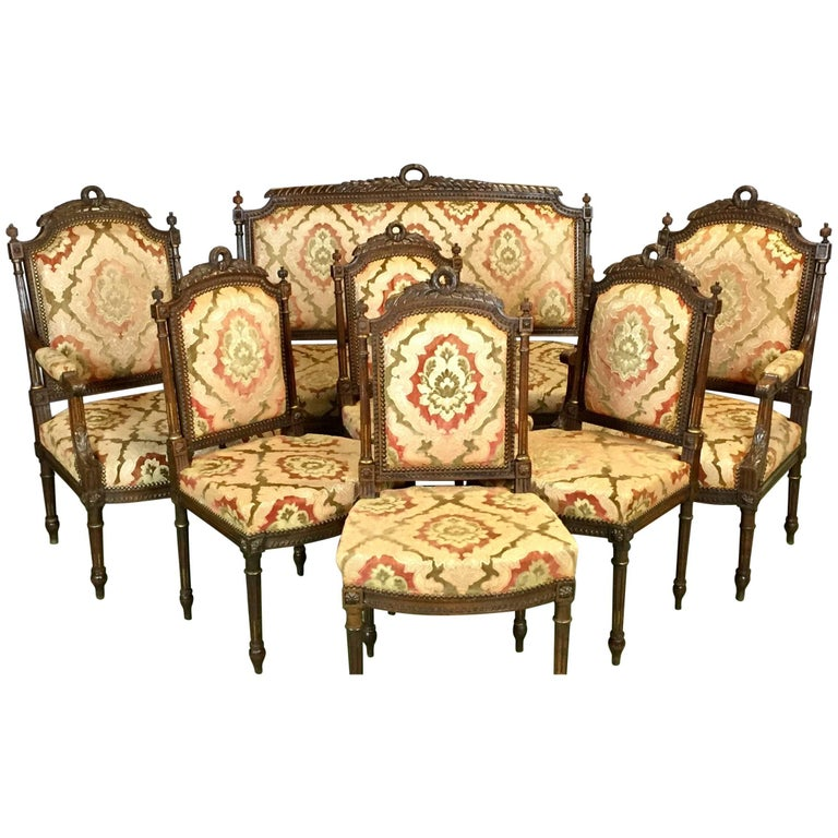 20th Century Louis XVI Walnut Salon Set