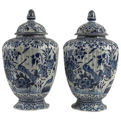 Netherlands Early 19th Century Pair of Delft Vases, Circa 1820-1840