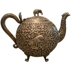 Sterling Silver Teapot Bhuj, Kutch, India 1870-1890, British Colonial