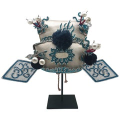 Vintage Chinese Opera Theatre Headdress in Turquoise with Midnight Blue Pom Poms