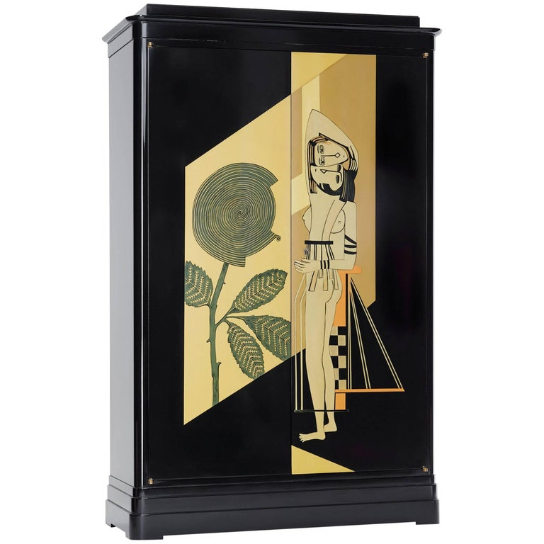 Art Deco Cabinet 'Hommage À Jean Dunand' - Lacquered Wood For Sale