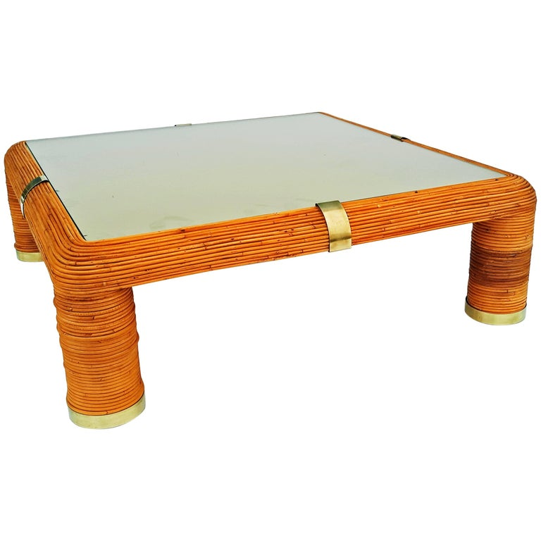 Large Bamboo Coffee Table Gabriella Crespi Style Circa 1960 For