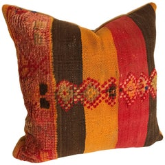 Custom Moroccan Pillow Cut from a Hand Loomed Wool Vintage Berber Rug