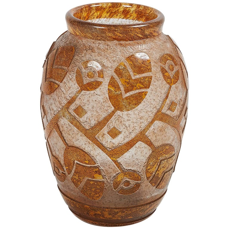 Daum Nancy Art Deco Acid Etched Vase For Sale At 1stdibs