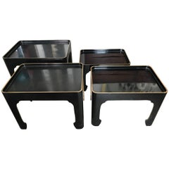 Set of Four Elegant Japanese Black Laquer Nesting Tables