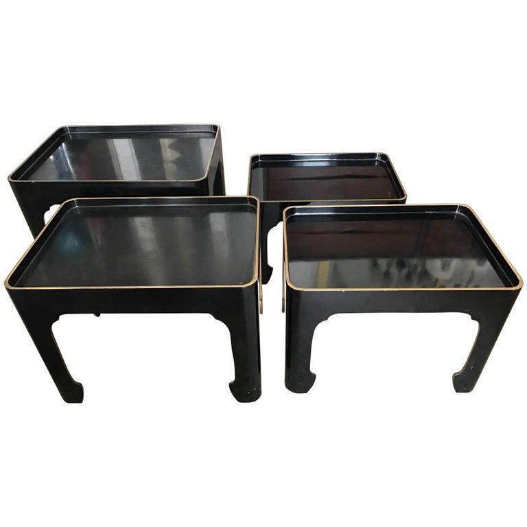 Set of Four Elegant Japanese Black Laquer Nesting Tables