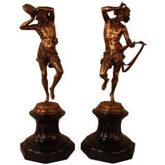 Pair of Bronze Danseur Napolitain Au Luth & Danseur Napolitain Au Tambourin