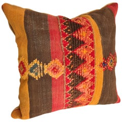 Custom Moroccan Hand Loomed Wool Pillow Cut from a Vintage Berber Rug