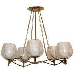Lightolier Brass and Glass Chandelier