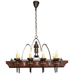 Antique 1930s Spanish Revival Wood and Iron Eight-Light Chandelier with Knight
