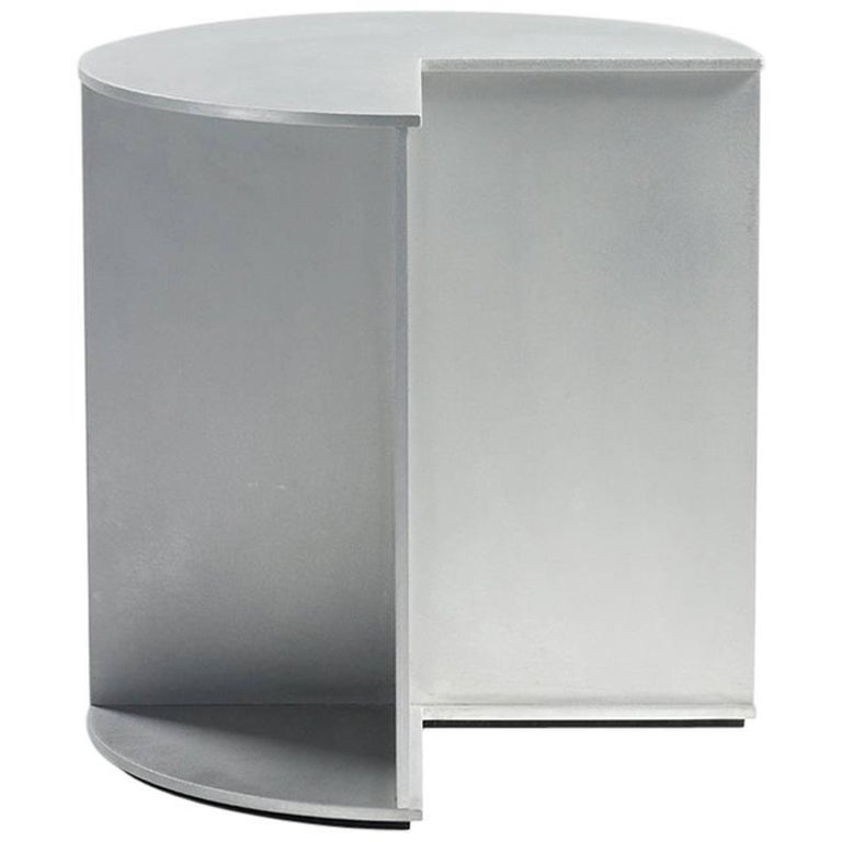 3-Quarter Side Table in Waxed Aluminum Plate by Jonathan Nesci For Sale