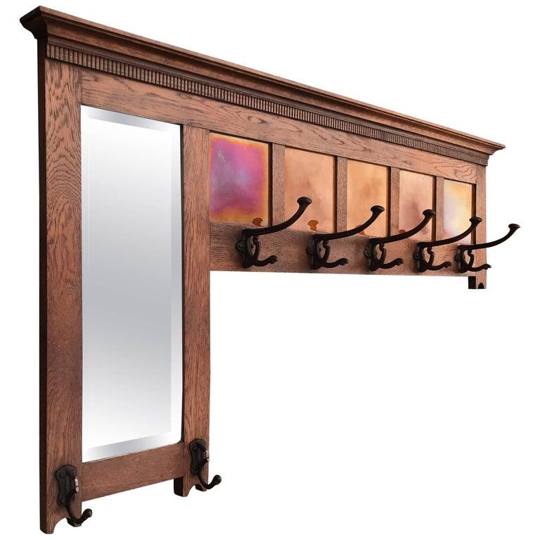 Early 20th Century Arts & Crafts Oak Coat Rack, Mirror & Majolica Glazed Tiles